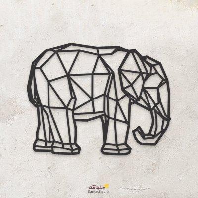 استیکر دیواری چوبی فیل، دیوارکوب چوبی فیل، استیکر دیواری چوبی، دیوارکوب چوبی، استیکر دیواری چوبی فانتزی، استیکر چوبی مدل نقطه و خط
